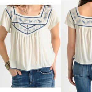 Free People embroidered Muse tee white small